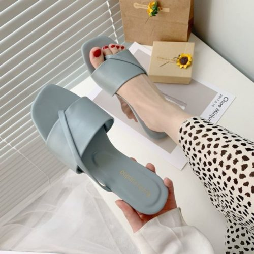 JSF801-blue Sandal Flat Wanita Cantik Import Terbaru