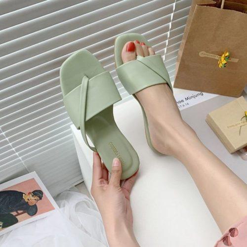 JSF801-green Sandal Flat Wanita Cantik Import Terbaru