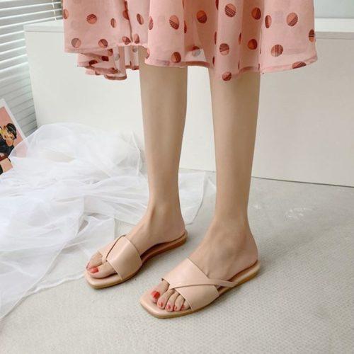 JSF801-pink Sandal Flat Wanita Cantik Import Terbaru