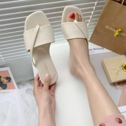 JSF801-white Sandal Flat Wanita Cantik Import Terbaru