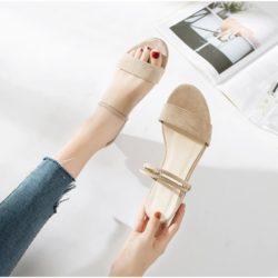 JSF911-khaki Sepatu Heels Blok Wanita Elegan Import 4CM