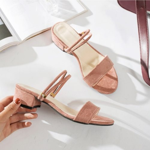 JSF911-pink Sepatu Heels Blok Wanita Elegan Import 4CM