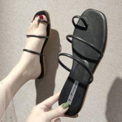 JSFA6-black Sandal Flat Shoes Wanita Cantik Terbaru