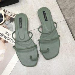 JSFA6-green Sandal Flat Shoes Wanita Cantik Terbaru