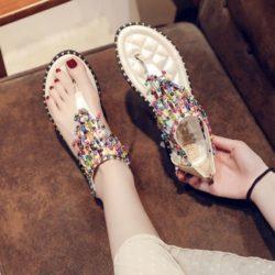 JSFH2-beige Flat Shoes Wanita Elegan Crystal