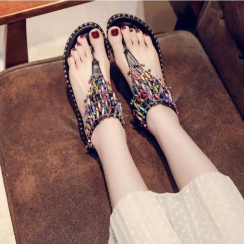 JSFH2-black Flat Shoes Wanita Elegan Crystal