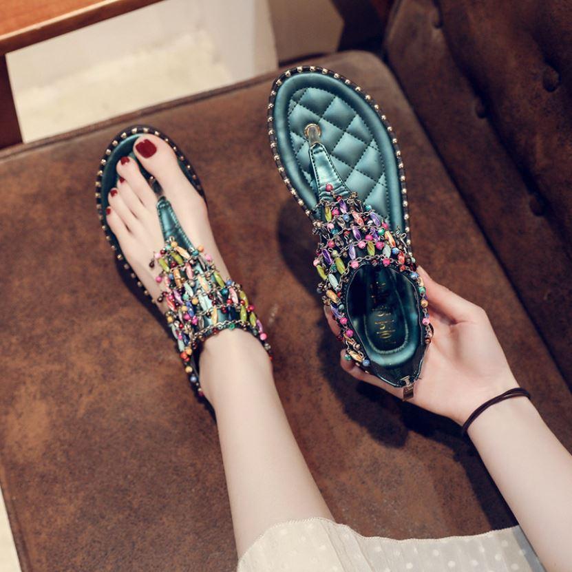 JSFH2-green Flat Shoes Wanita Elegan Crystal