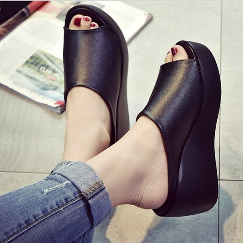JSH006-black Sepatu Wedges Fashion Import 7CM