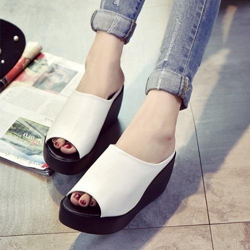 JSH006-white Sepatu Wedges Fashion Import 7CM