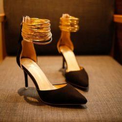 JSH007-black Sepatu Heels Ankle Strap Elegan Import 9CM