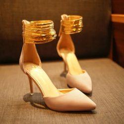 JSH007-pink Sepatu Heels Ankle Strap Elegan Import 9CM