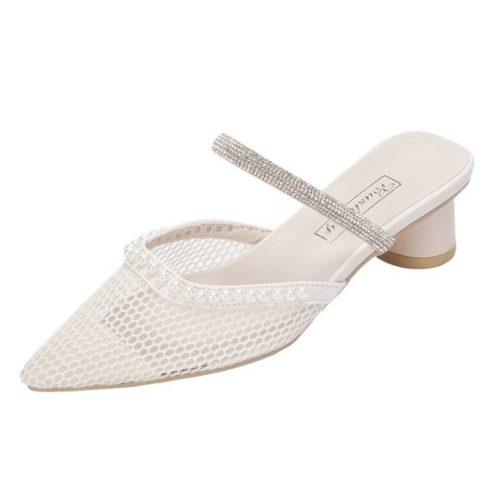JSH012-beigenet Sepatu Heels Pesta Wanita Elegan Impoirt 5CM