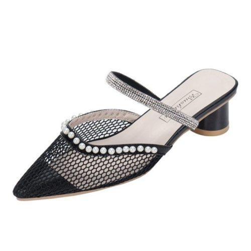 JSH012-blacknet Sepatu Heels Pesta Wanita Elegan Impoirt 5CM