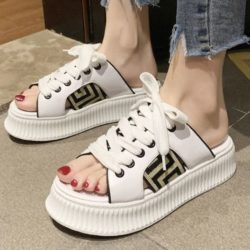 JSH01920-white Sepatu Wanita Modis Open Toe Cantik Terbaru