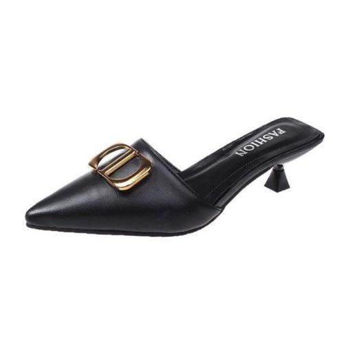 JSH0488-black Sepatu Heels Wanita Elegan Import 5CM