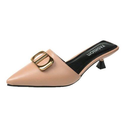 JSH0488-khaki Sepatu Heels Wanita Elegan Import 5CM