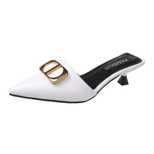 JSH0488-white Sepatu Heels Wanita Elegan Import 5CM