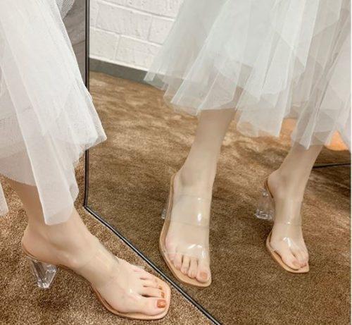 JSH050-apricot Sepatu Heels Blok Transparan Wanita Cantik 6CM