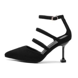 JSH1006-black Sepatu Heels Bludru Wanita Cantik Import 6CM