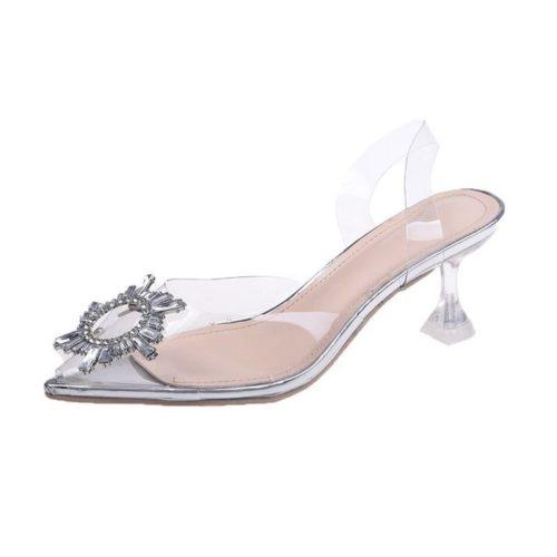JSH106-silver Sepatu Heels Pesta Wanita Elegan 5CM