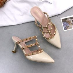 JSH1089-beige Sepatu Heels Wanita Cantik Elegan 8CM