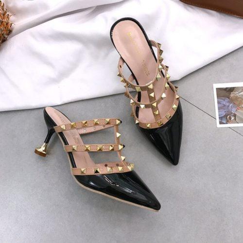 JSH1089-black Sepatu Heels Wanita Cantik Elegan 8CM