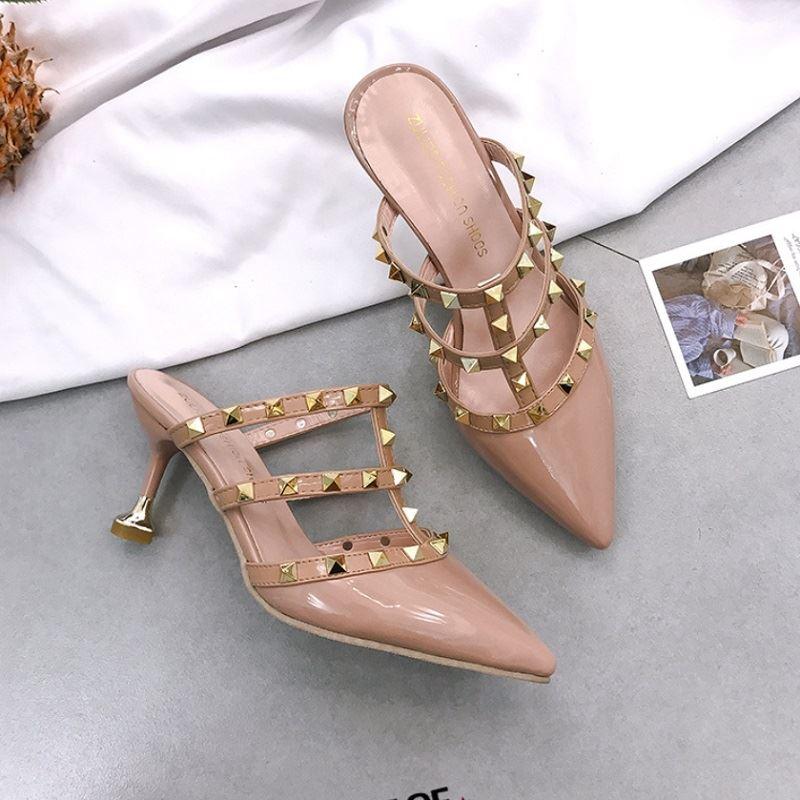 JSH1089-khaki Sepatu Heels Wanita Cantik Elegan 8CM