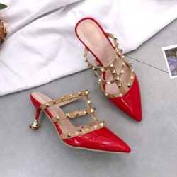JSH1089-red Sepatu Heels Wanita Cantik Elegan 8CM