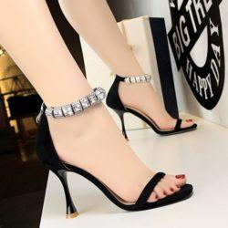 JSH1275-black Sepatu High Heels Suede Wanita Elegan 9.5CM