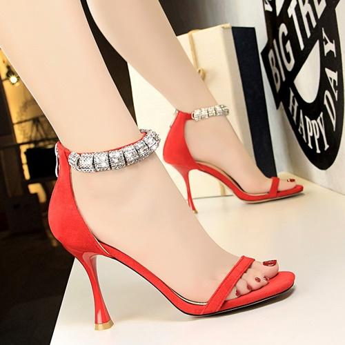 JSH1275-red Sepatu High Heels Suede Wanita Elegan 9.5CM
