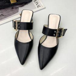 JSH168-black Sepatu Heels Blok Wanita Cantik Import 4CM