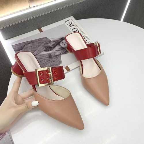 JSH168-khaki Sepatu Heels Blok Wanita Cantik Import 4CM