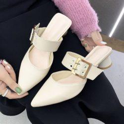 JSH168-white Sepatu Heels Blok Wanita Cantik Import 4CM