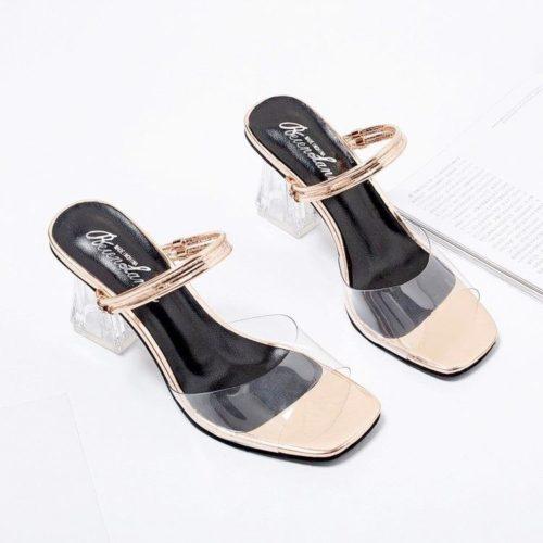 JSH1748-gold Sepatu Heels Blok Transparan Wanita Cantik 7CM