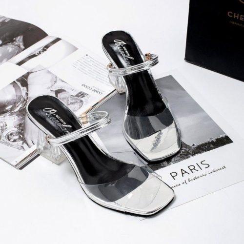 JSH1748-silver Sepatu Heels Blok Transparan Wanita Cantik 7CM