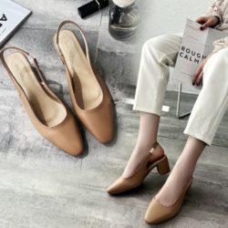 JSH18081-khaki Sepatu Heels Blok Cantik Import Terbaru 5CM