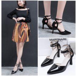 JSH1901-black Sepatu Heels Ankle Strap Elegan Modis 8cm