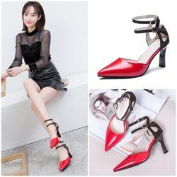 JSH1901-red Sepatu Heels Ankle Strap Elegan Modis 8cm