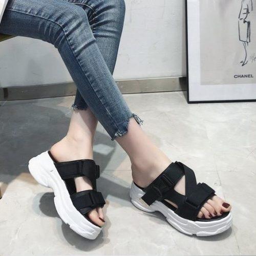 JSH1905-black Sandal Wedges Wanita Cantik Import 5CM