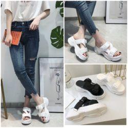 JSH1905-white Sandal Wedges Wanita Cantik Import 5CM