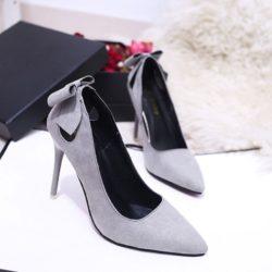 JSH1916-gray Sepatu High Heels Bludru Pita 10.5CM