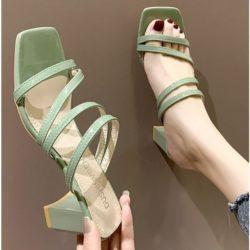 JSH19308-green Sepatu Heels Block Wanita Cantik Import 6CM