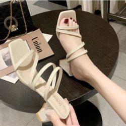 JSH19308-white Sepatu Heels Block Wanita Cantik Import 6CM