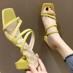 JSH19308-yellow Sepatu Heels Block Wanita Cantik Import 6CM