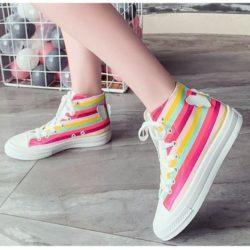 JSH1931-rainbow Sepatu Sneakers Colorful Stylish Kekinian