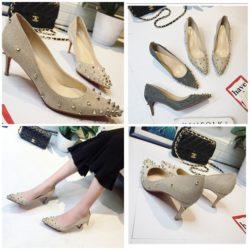 JSH2017-gold Sepatu Heels Spike Wanita Elegan Import 6CM