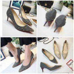 JSH2017-silver Sepatu Heels Spike Wanita Elegan Import 6CM