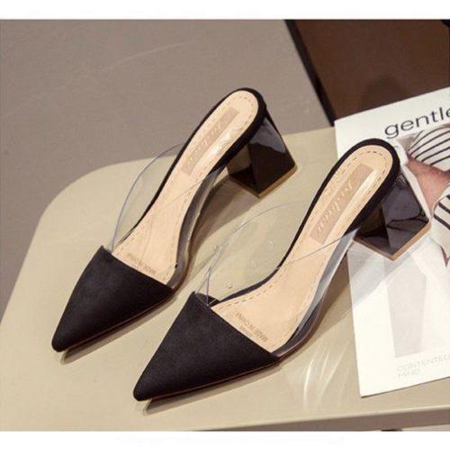 JSH21916-black Sepatu Heels Blok Wanita Elegan Import 7CM