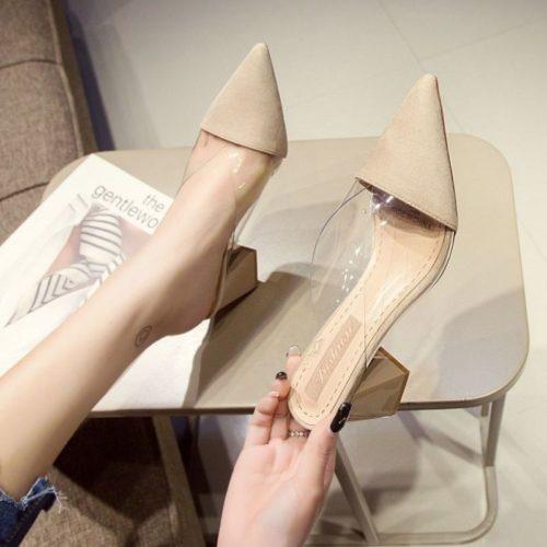 JSH21916-khaki Sepatu Heels Blok Wanita Elegan Import 7CM