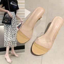 JSH2280-apricot Sandal Heels Blok Wanita Cantik 6CM